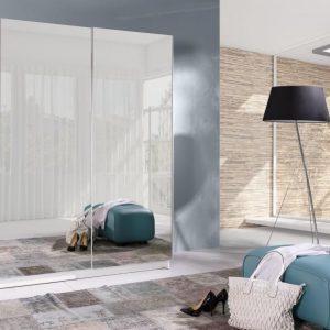 Skapis ar bīdāmām durvīm un spoguli Grande 204-2L
