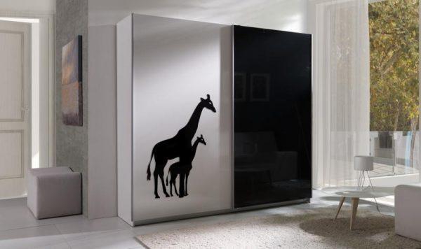 Skapis ar bīdāmām durvīm Twister 4-Žirafes