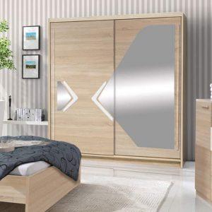 Skapis ar bīdāmām durvīm un spoguli Domino 150